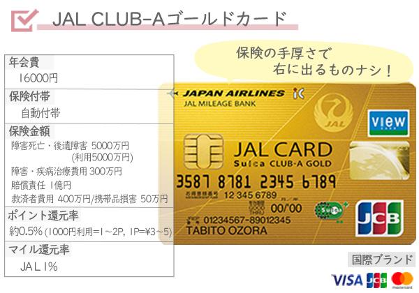 海外旅行オススメクレジットカード⑤ JAL CLUB-Aゴールドカード