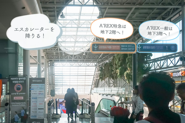 乗り換え③A'REX直通は地下2階へ