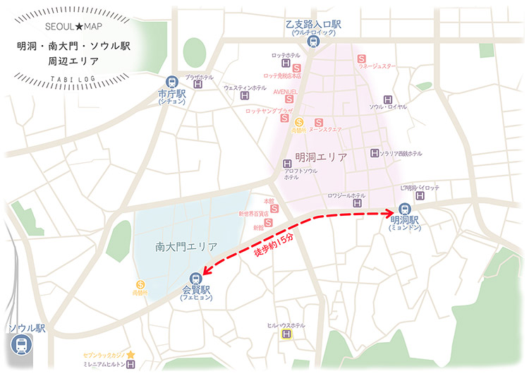 韓国マップ① 明洞~南大門市場・地図