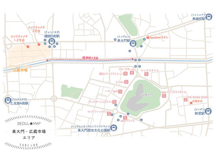 韓国マップ⑩ 東大門~広蔵市場エリア