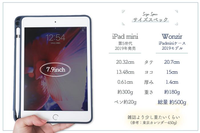 iPad mini & カバー サイズスペック