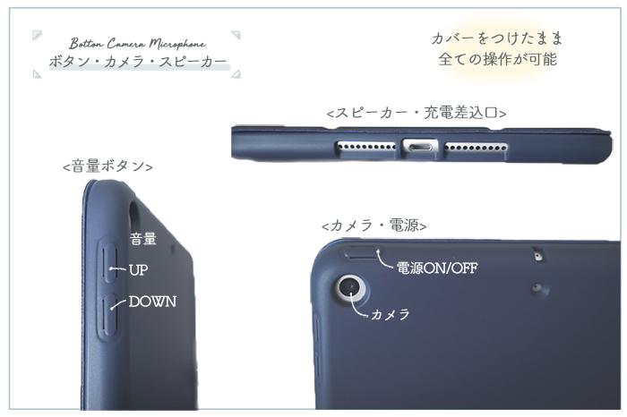 ペンホルダー付きiPad miniカバー ボタン・充電・カメラ部分