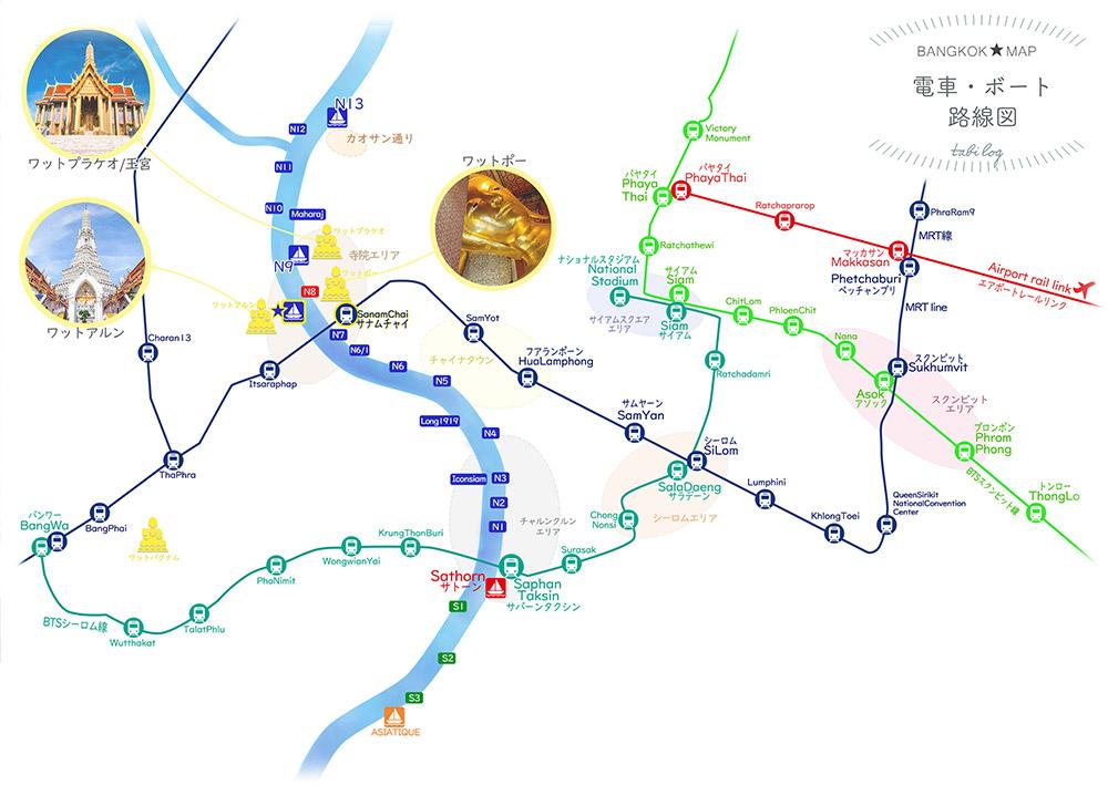 バンコク路線図(観光地付き)