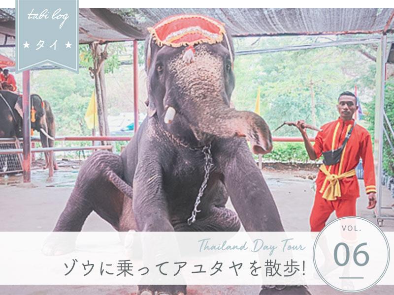 タイ現地ツアー⑥アユタヤで象乗り