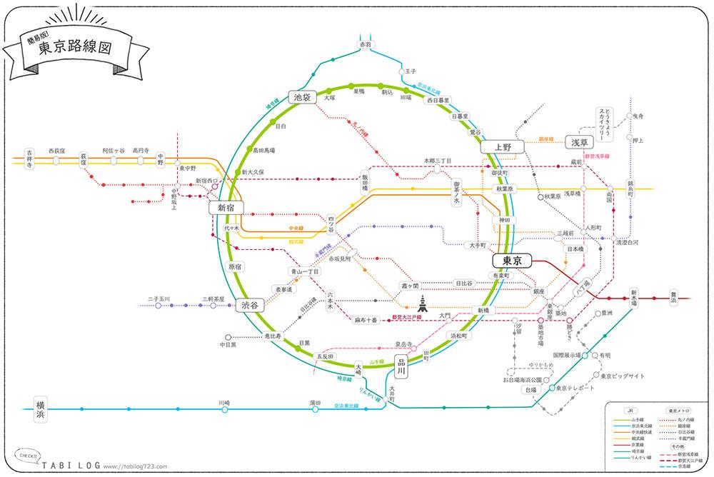 ダウンロードOK簡易版!東京路線図