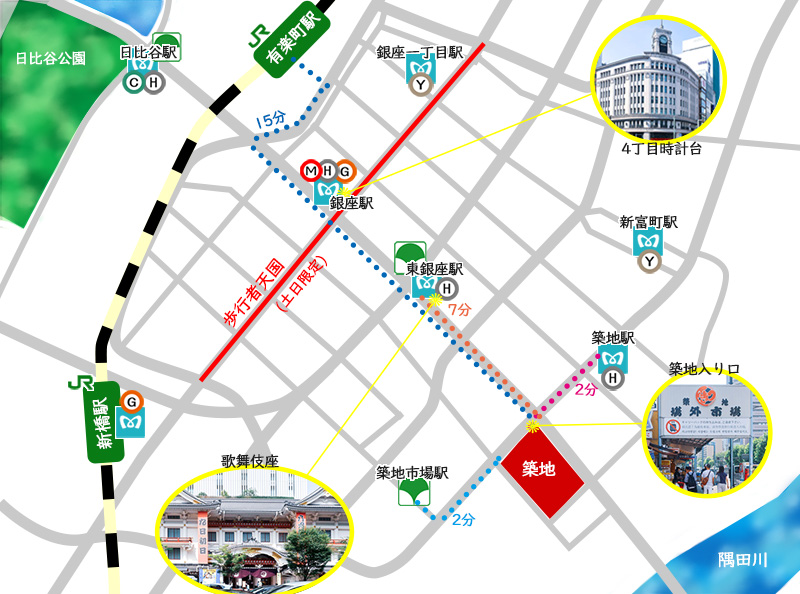 【築地周辺マップ】 築地場外市場へのアクセス