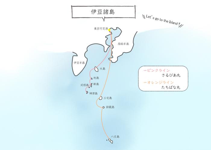 伊豆諸島マップ船路線図