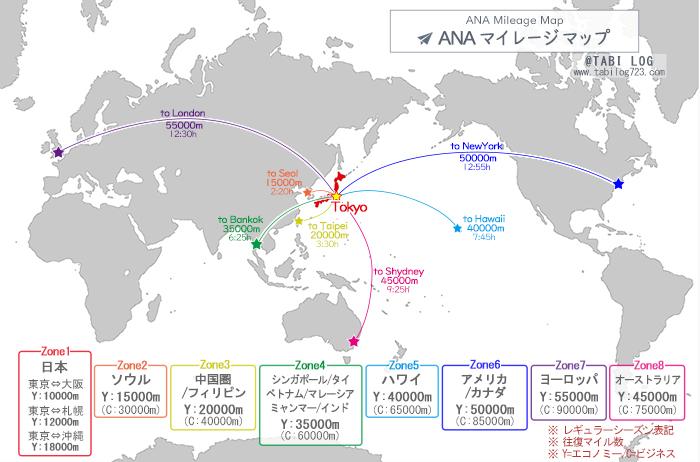 ANAマイルで行ける場所マイレージマップ