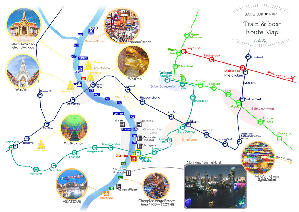 【With Sightseeing Spots】 Bangkok Train & Boat Route Map