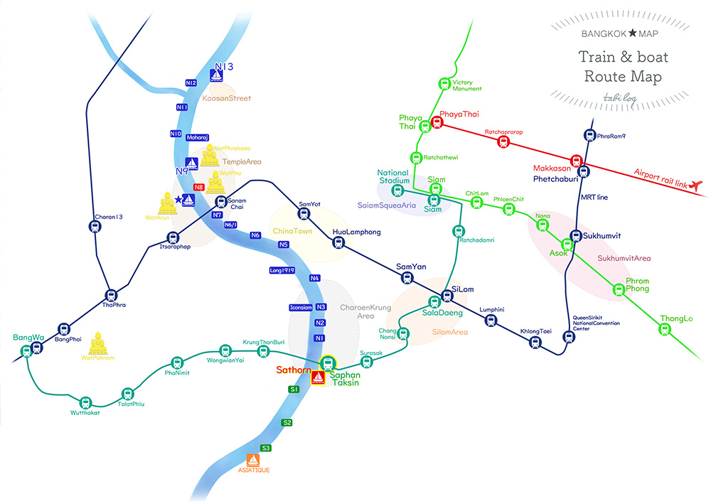 【Not Sightseeing Spots】 Bangkok Train & Boat Route Map