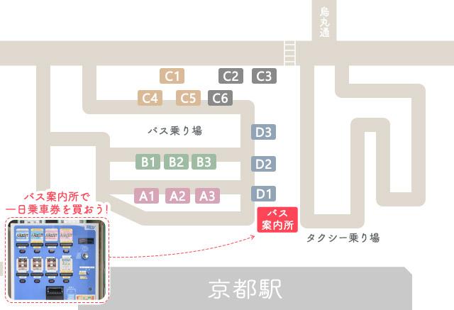 京都駅前地図・バス乗り場