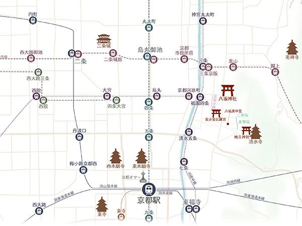 京都マップ中心部 スマホ版