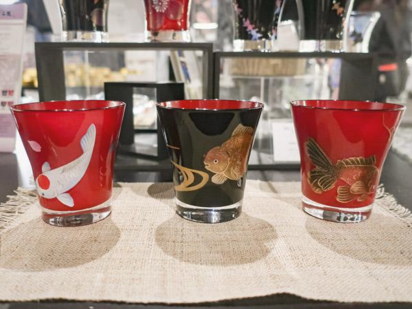 アートアクアリウム美術館金魚モチーフの食器土産漆塗りグラス