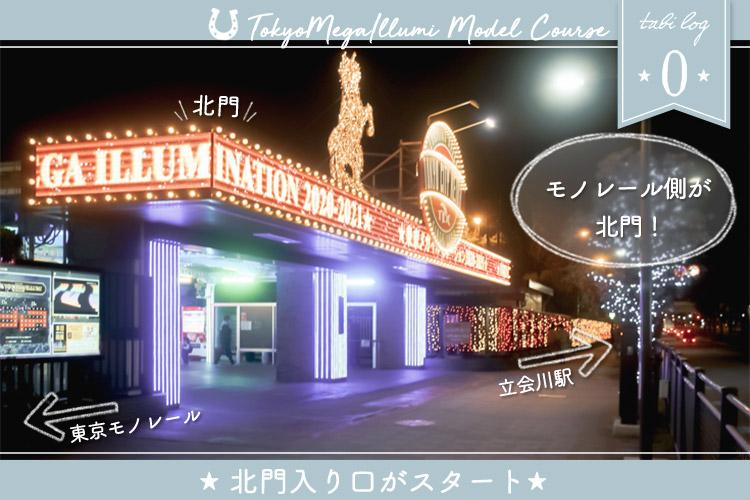 東京メガイルミモデルコース⓪ 北門入り口がスタート!