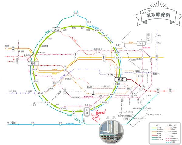 東京エリアマップ観光用品川