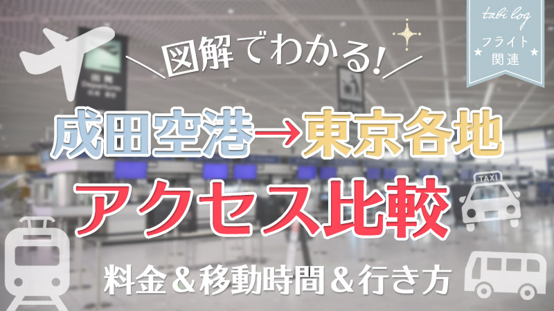 【成田空港⇔東京各地】アクセス図解比較!料金&移動時間&行き方